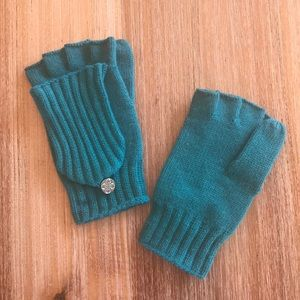 Teal fingerless gloves, converts to mittens